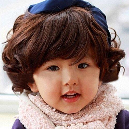 Spritech™ binarytech esponjoso realistas de los niños encantadores corto peluca de pelo rizado fibra ondulado peluca sintética, Deep Brown, 0-3 years old