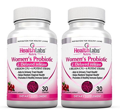 Health Labs Nutra Probiotika für Frauen mit Cranberry & D-Mannose fördert optimale vaginale, Harn und digestive Gesundheit (Packung mit 2) (Labs Cranberry)