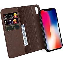 Custodia iPhone X, ZOVER Staccabile Pelle Portafoglio Custodia Con la funzione Auto Sleep / Wake, Supporta la ricarica wireless, Supporto magnetico per auto, Chiusura Magnetica - Marrone scuro