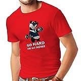 Camisetas hombre 'Go Hard or Go Home' - boxeo, levantamiento, gimnasio, fitness - ropa de ejercicio divertido (Large Rojo Multicolor)