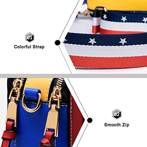 Stile di strada di Yoome Stringa di colore piccolo contrasto per le donne Sacchetto di Tote con la chiusura lampo Nuova borsa Chic Crossbody - Rosso Nero