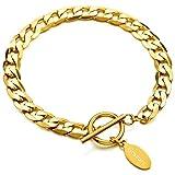 MeMeDIY Or Ton Acier Inoxydable Bracelet Lien Gourmette - Gravure personnalisée