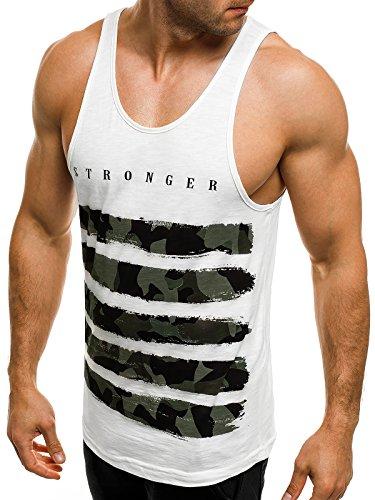 OZONEE Herren Tanktop Tank Top Tankshirt T-Shirt mit Print Unterhemden Ärmellos Weste Muskelshirt Fitness Motiv BREEZY 171090 Weiß