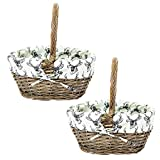 east2eden Antique Brown Willow Wicker Traditional Shopping Easter Basket with Stag Liner in Choice of Sizes & Deals (Set of 2 Small)