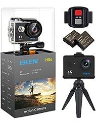 EKEN H9s 4K Cámara de Acción, Cámara Deportiva a Prueba de Agua Full HD Wifi con Video 4K30/ 1080p60/ 720p120fps, Foto 12MP y Lente de Gran Ángulo 170 grados, incluye Kit de 17 Monturas (Negro)