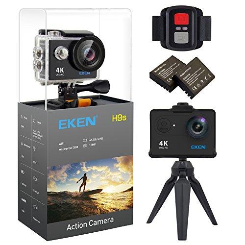 Galleria fotografica EKEN H9s 4K Action Camera Wifi Impermeabile Camera Sportiva con Video 4K 25 2.7K 30 1080p 60 720p 120fps 12MP Foto e 170 lenti grandangolari include 10 kit di montaggio Telecomando 2 Batterie Nero