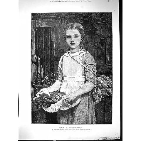 Bello Pranzo della Ragazza della Conigliera che Alimenta la Stampa dell'Oggetto D'antiquariato di Tim Perugin 1882