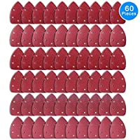 AUSTOR 60 Pieces Mouse Detail Sander Sandpaper Sanding Paper Hook and Loop Assorted 40/ 60/ 80/ 120/ 180/ 240 Grits