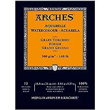 Arches–Bloc para acuarelas, madera, color blanco, madera, weiß, 21  x  14.8  x  1 cm