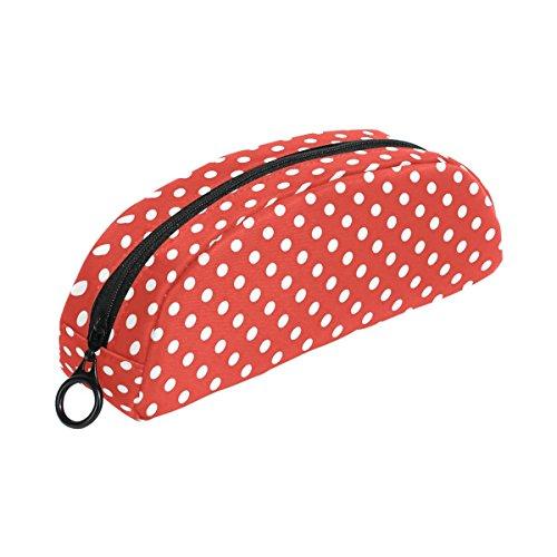 COOSUN - Estuche para lápices de lunares, semicircular, bolígrafo, bolsa, estuche para maquillaje, neceser para mujeres y niñas