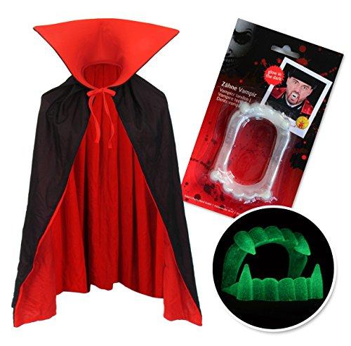 papapanda Vampir Stehkragen Wendeumhang Schwarz Rot und Vampirzähne für Kinder oder Erwachsene Halloween Dracula Cosplay 90cm ()