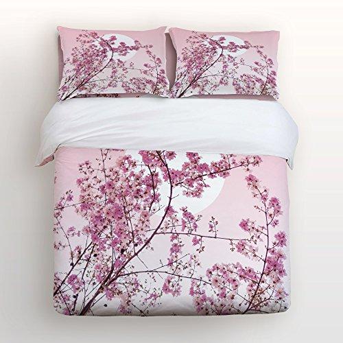 Cloud Dream 4-teilig Tagesdecke, Bettlaken, kissenrollen Set, Hypoallergen Atmungsaktiv Weiches Mikrofaser Cherry Blossom mit Verstecktem Reißverschluss Queen/Large Multi -