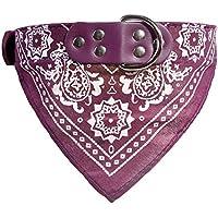 Ruikey Pañuelo para Mascotas Bufanda Púrpura del Patrón para Bandana Decoración para Perro Gato(XL)
