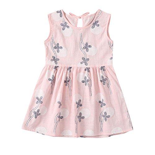 JUTOO Kleinkind Kinder Baby Mädchen Kleid Floral Print ärmellose Princess Dress Outfits (Rosa,100)