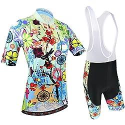 BXIO Mujeres Ciclismo Jerseys con Culotte Cortos Licra Doble Costura Plana para Manguito de Manga y Pantalones Cortos 187 (Short Sleeve and Bib Shorts, L)
