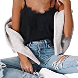 Blusen Für Damen CLOOM spaghetti Strap Sexy Sweatshirt Lace Shirt Freizeit Spitze Patchwork Top Frauen Pullover Sexy Bandage Backless Crop Top Camisole Basic Weste Frauenhemden (Schwarz, M)