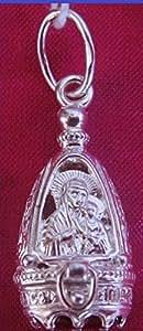 Pendentif reliquaire Ouvrant Orthodoxe Vierge Marie Argent Pierre PhianiteRubis
