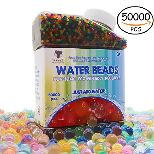 TOAOB 50000pcs Wasserperlen Aqualinos Perlen Gelperlen Wachsende Kristallboden mit Abgefüllt 1.2cm Größe für Wasserballons Partei Sensorische Spielzeug und als Deko für Blumenvase