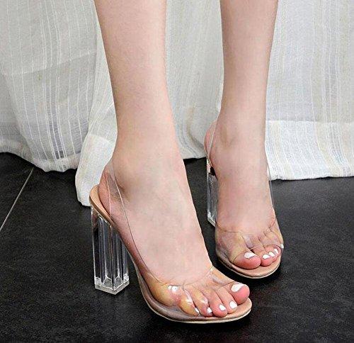GLTER Femmes Pompes à bride de cheville Summer Charming Rome Sandales Transparent Talons hauts Chaussures en cristal épais Court Shoes Apricot apricot