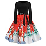 Xmiral Women Vintage Christmas Dress Print Long Sleeve Evening Party Pleated Skirt (M,Red)