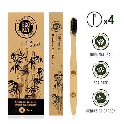 Ecokly  Cepillos de dientes de madera de bambú natural, 100{235e3d8514e735c056855bb35d656263ee84a9c117b95d8cc8694c0d7a9c455a} ecológico, vegano y biodegradable. Cepillo de cerdas naturales con carbón vegetal, reciclable y libre de BPA. Set 4 Unidades