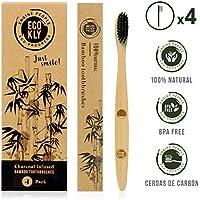 Ecokly  Cepillos de dientes de madera de bambú natural, 100% ecológico, vegano y biodegradable. Cepillo de cerdas naturales con carbón vegetal, reciclable y libre de BPA. Set 4 Unidades