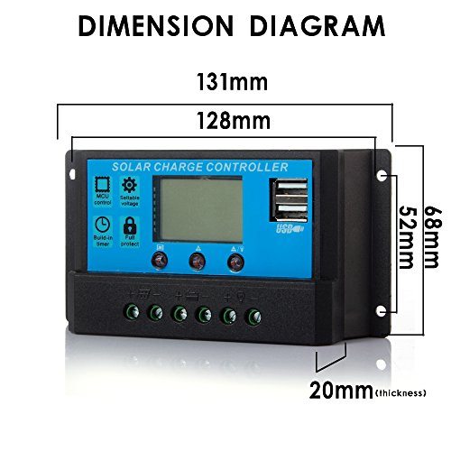 Ecloud Shop® LCD-20A 12V / 24V PWM Solar Panel Laderegler Regulator Adapter Doppel-Ports -