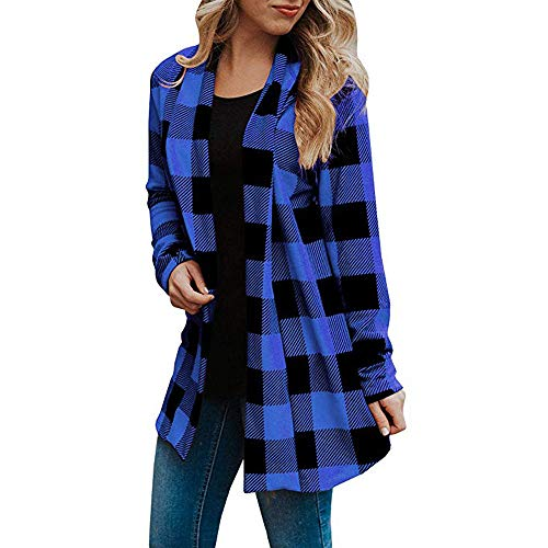 ESAILQ Damen Buffalo Plaid Cardigans Langarm Ellenbogen Patch Drapierte Open Front Cardigan(Medium,Blau)