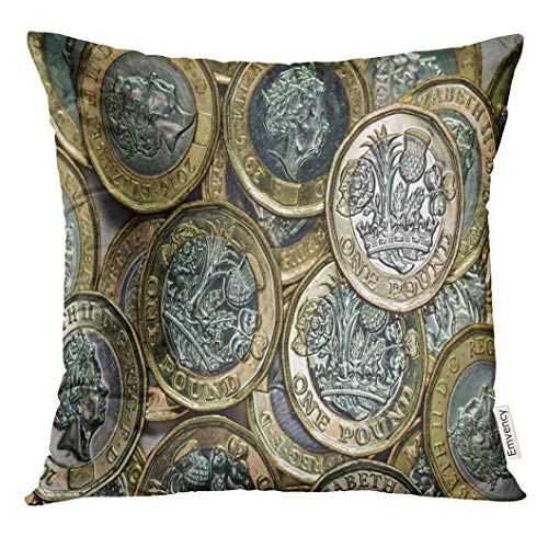 artyly Kissen KissenbezugSilberne Währung New British Pound Coins Design Bank Decor Square Accent Pillowcase 45x45 cm (Accent Stuhl Bank)