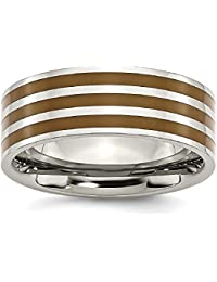 ICE CARATS Titanium Brown Enamel Flat 8mm Wedding Ring Band Fashion Jewelry Gift Set For Women Heart