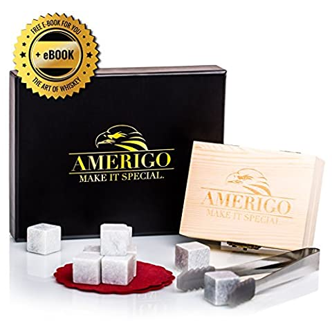 Luxury Whisky Stones Gift Set by Amerigo - Set of 9 Whisky Rocks - Reusable Drinking Ice Stones - Chilling Stones Gift Set with Hand Crafted Wooden Box, Stainless Steel Tongs and Classy