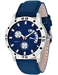 Swadesi Stuff Blue Dial Leather Strap Analog Watch For Men & Women