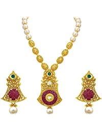 Sukkhi Trendy Invisible Setting Gold Plated American Diamond Necklace Set For Women