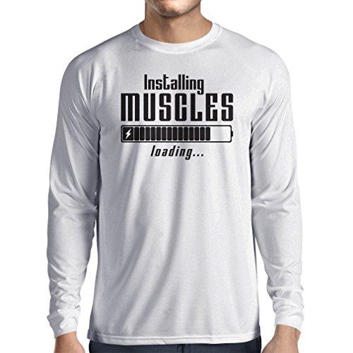 Langarm Herren t shirts Muskelarbeit Kleidung - für Muskelaufbau Meister, Vintage Design, Fitness Kleidung (XXX-Large Weiß Schwarz)