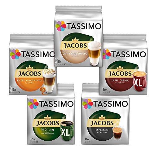 Tassimo Kapseln, Probierbox mit 5 Sorten, 5 x 16 Getränke, 5er Vielfaltspaket