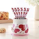 BB.er Creative amore carino frutto forca impostato in ceramica in acciaio inossidabile dessert vasellame, 6 forcella + 1 base, rosa