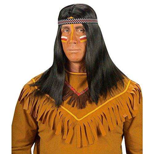 Preisvergleich Produktbild Perücke schwarz Indianer Karnevalsperücke Indianerperücke Häuptling Winnetou Apachen Sioux Indian Fasching Karneval