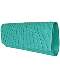 Damen Elegante Abendtasche,Clutch,Unterarmtasche Hellgrün,21x9 cm,