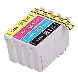 PerfectPrint Kompatibel Tinte Patrone Ersetzen für Epson Stylus SX-230 235W 420W 425W 435W 440 445W 525WD 535WD 620FW Stylus Office B42WD BX-305F 305FW T1295 (Schwarz/Cyan/Magenta/Gelb, 4-pack)