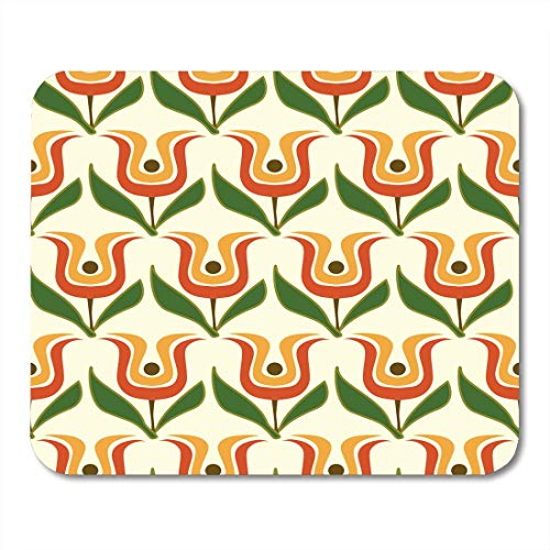 AOHOT Mauspads Colorful 1960S Retro Floral Green Pattern 1970S Abstract Basic Chain Mouse pad 9.5