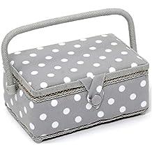 HobbyGift Valor Foco rectangular caja de costura, mezcla de algodón, gris, pequeño