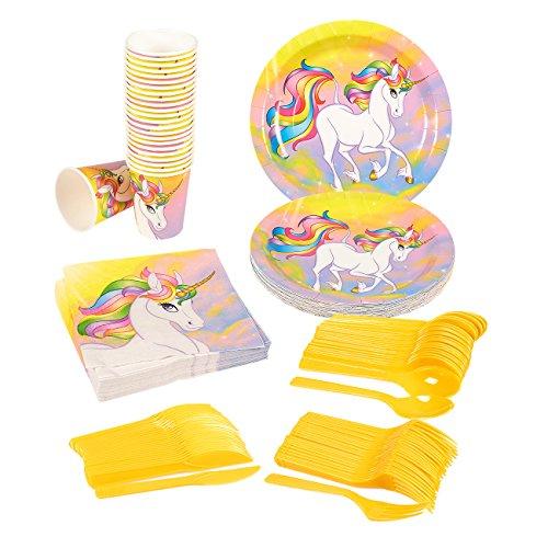 (Juvale Einhorn Fantasy Party Supplies – 24 Stück – inklusive Teller, Messer, Löffel, Gabeln, Becher, Servietten Einhorn-Geburtstagsparty-Set für Kinder, Fantasy-Einhorn-Motto-Partys.)