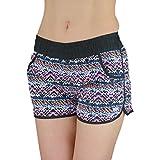 Badeshorts Damen Boardshorts Strandshorts Beach Shorts Kurz Lässige Sommershorts Hotpants (42 / XL, Muster 3 - Zickzack Bunt)