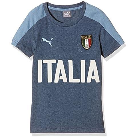 PUMA T-shirt da bambino FIGC Italia Graphic Tee Azzurri, Dark Denim-Blue Heaven, 128, 748819 01