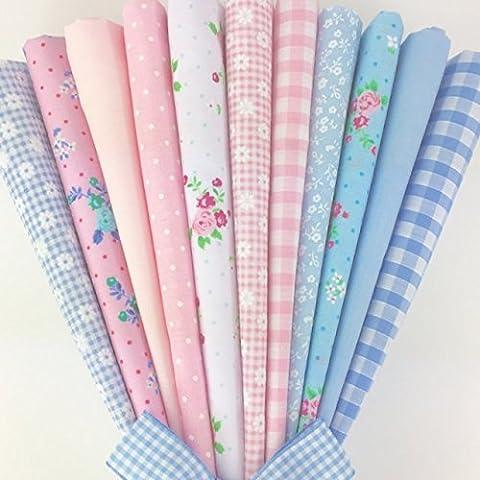 Siempre hacer punto y costura de retales de polialgodón Fat - Florals, para niños, bebé telas 20 x 55,88 cm 11 Emily de rayas/Diseño de