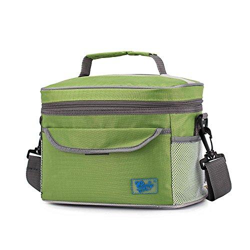Mittagessen-Tasche Lebensmittel Handtasche Isolierte Outdoor Camping Isolierte Box Schlösser in Wärme & Kälte mit Schultergurt für Männer/Frauen/Kinder - Grün