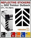 2pcs RIFRANGENTI ADESIVI compatibile con GIVI Monokey Trekker Outback Bauletto Alluminio TOP CASE 37 42 48 L (Black 071)