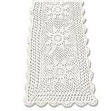 KEPSWET Coton Crochet Fait Main Chemin de Table rectangulaire en Dentelle Beige Tournesol Chemin de Table Table Basse Décor, Coton, Beige, 40cm x 80cm