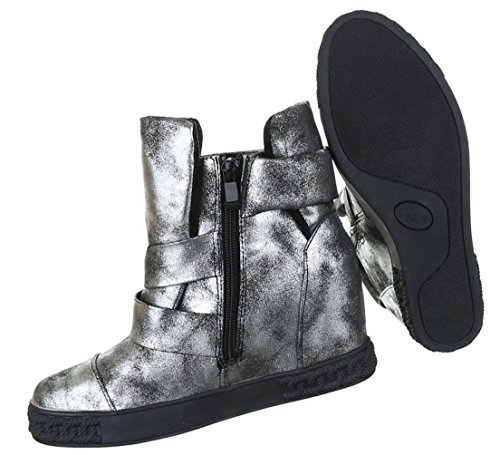 Damen Stiefeletten Schuhe Kurzschaft Moderne Keilboots Wedges Schwarz Grau Gold silber 36 37 38 39 40 41 Schwarz