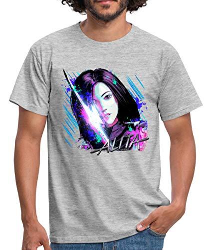 Spreadshirt Alita: Battle Angel Porträt Männer T-Shirt, S, Grau meliert